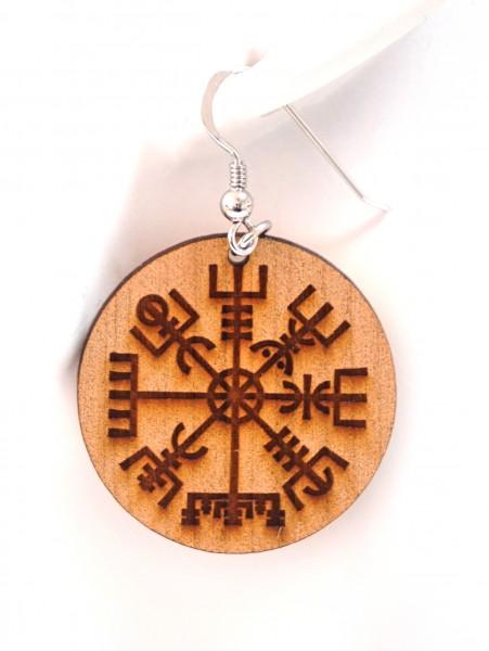 Wikinger Kompass - Vegvisir - Holz Ohrhänger Miriquidi