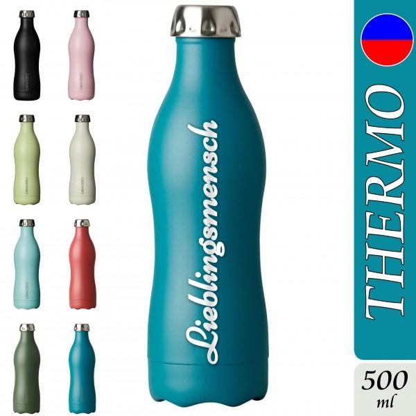 DOWABO Edelstahl Thermoflasche 500ml mit Wunschgravur