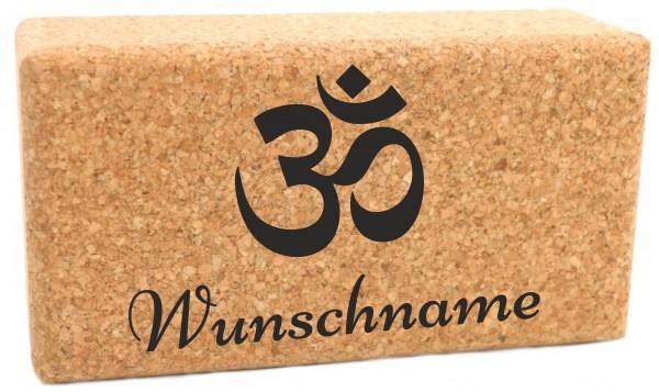 """Yogablock """"OM"""" Kork personalisiert Motiv & Name - 22.5 x 12 x 7.5cm"""