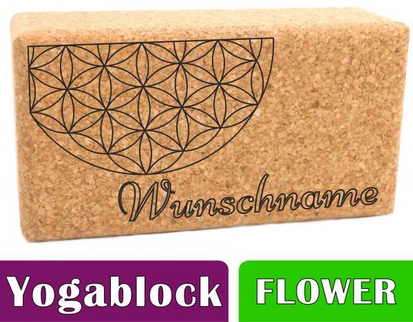 """Yogablock """"Flower of Life"""" Kork personalisert Motiv & Name - 22.5 x 12 x 7.5cm"""