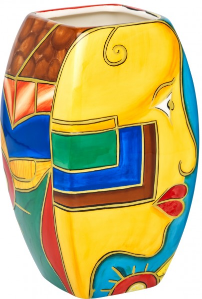 """Magu Keramik Vase 20cm handbemalt """"FACE to FACE"""" - 180 862"""