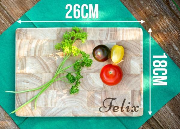 Frühstücksbrettchen Holz mit Gravur Namen | 26 x 18 cm Gummibaum Holzbrettchen | Continenta 4015 Ves