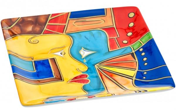 "Magu Keramik Schale eckig 21cm handbemalt ""FACE to FACE"" - 180 322"