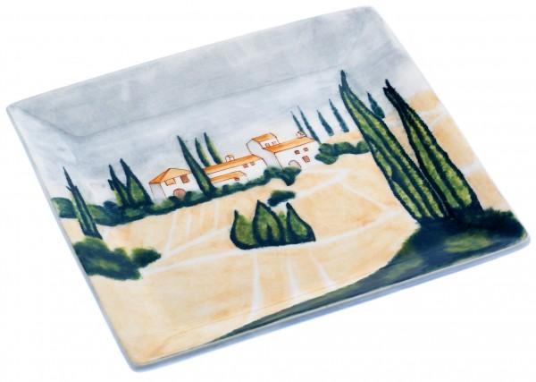 "Magu Keramik Teller eckig 21cm handbemalt ""SIENA"" - 125 322"