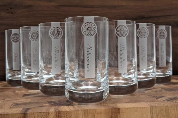 Chakren Gläser - als Wassergläser 255ml oder Longdrink Gläser 390ml - Chakra Glas 7er Set