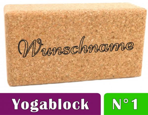 "Yogablock ""Name #1"" Kork personalisiert mit deinem Namen"