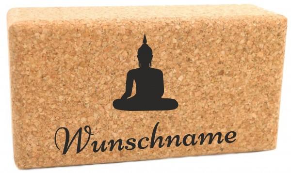 "Yogablock ""Buddha"" Kork personalisiert Motiv & Name - 22.5 x 12 x 7.5cm"